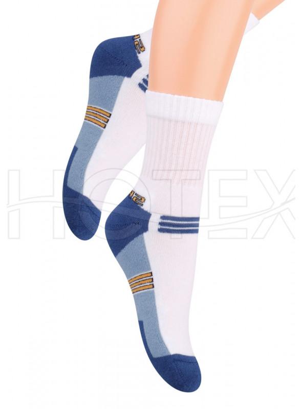Chlapecké polofrofé ponožky 020/4 STEVEN   bílá-modrá   velkoobchod HOTEX