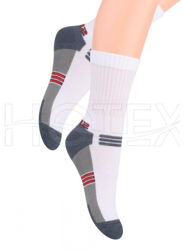 Chlapecké polofrofé ponožky 020/4 STEVEN   bílá-šedá   velkoobchod HOTEX