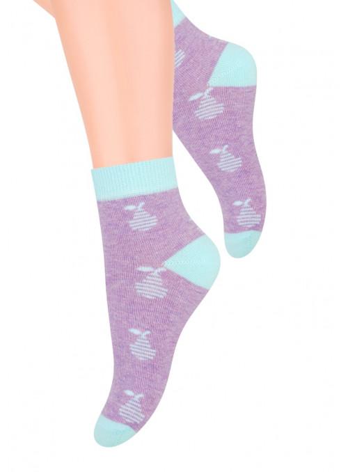 Dívčí kotníkové ponožky 004/8 STEVEN | fialová | velkoobchod HOTEX