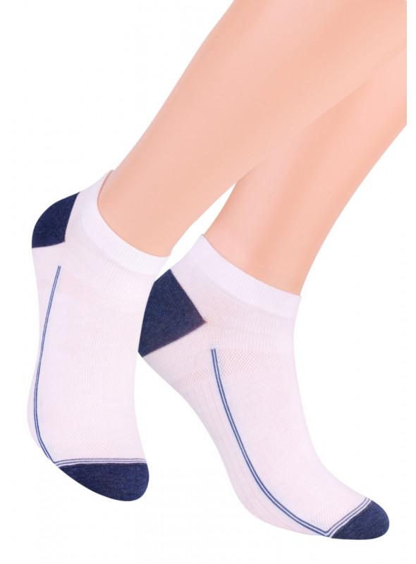 Chlapecké kotníkové ponožky 101/101 STEVEN | bílá-modrá | velkoobchod HOTEX