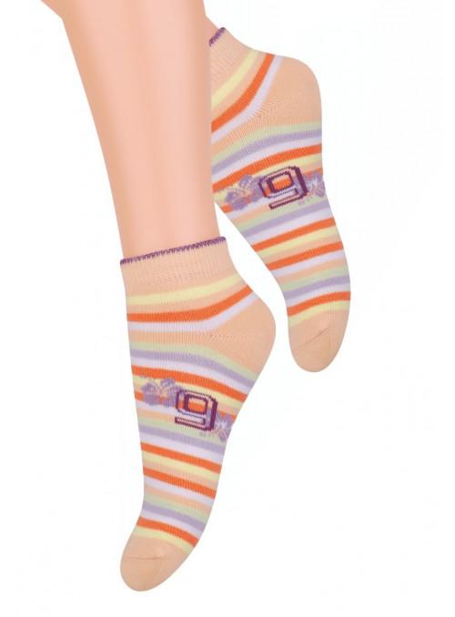 Dívčí kotníkové ponožky 004/1 STEVEN | koral (coral) | velkoobchod HOTEX