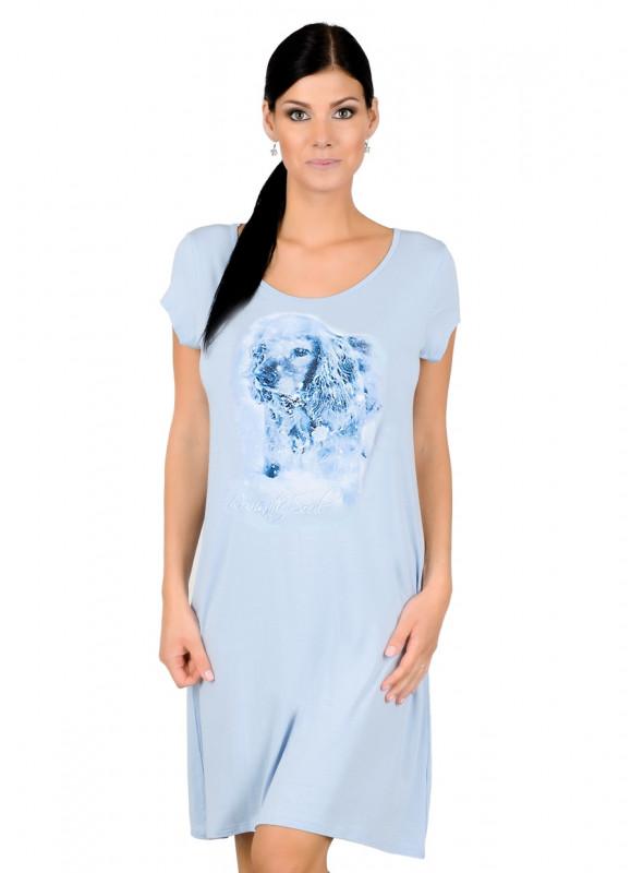 Dámská noční košile 60/2-K1/016/A43 FABIO | modrá světlá | velkoobchod HOTEX