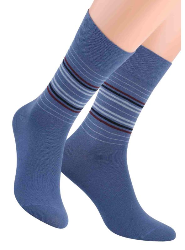 Pánské klasické ponožky 056/6 STEVEN | modrá | velkoobchod HOTEX